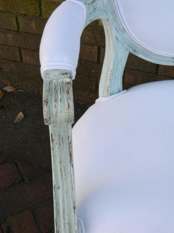 Pair of Louis XVI Style Painted Open Armchairs, Early 20th Century For Sale 1