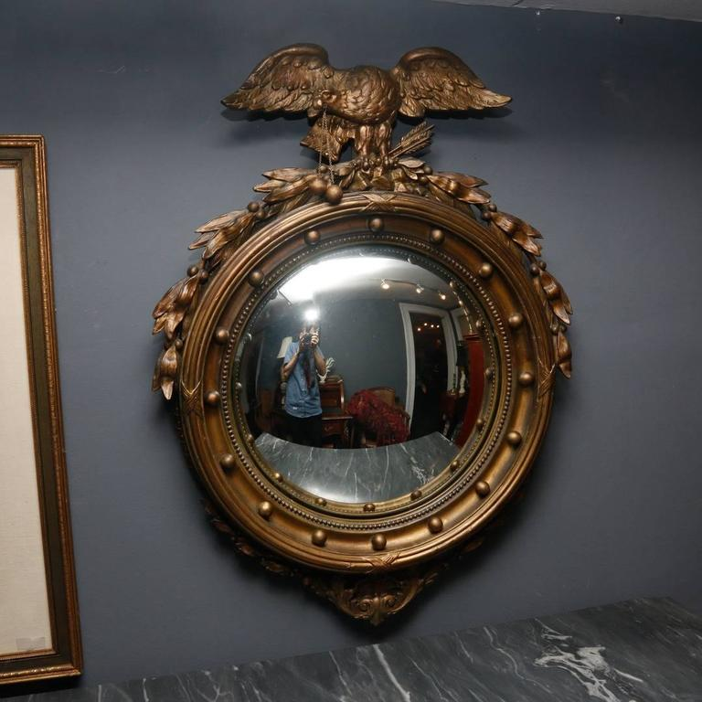 Federal Style Giltwood And Gesso Convex Mirror 19th