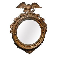 Federal Style Giltwood and Gesso Convex Mirror, 19th Century