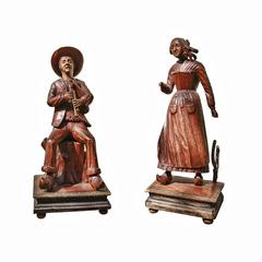 Pair of Dutch Carved Wooden Figures Mounted on Carved Bases, 19th Century
