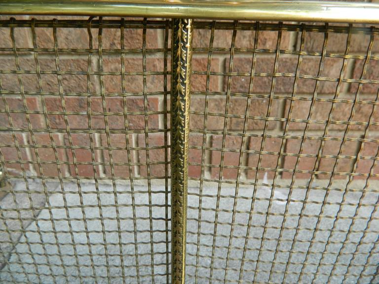 English Polished Brass and Mesh Fireplace Fender, 19th Century For Sale 2