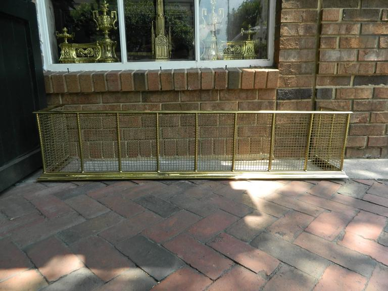 English Polished Brass and Mesh Fireplace Fender, 19th Century For Sale 3