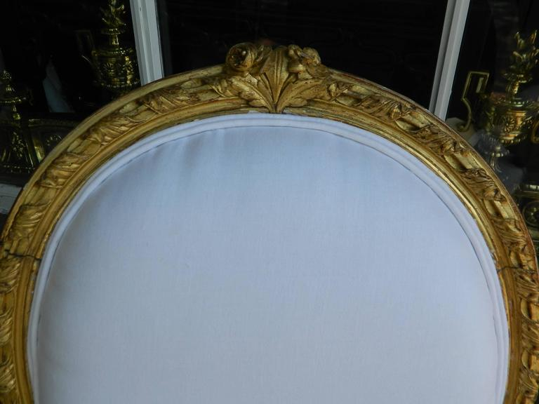 Pair of Louis XVI Style Giltwood Armchairs, 19th Century For Sale 3