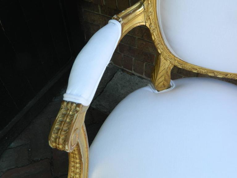 Pair of Louis XVI Style Giltwood Armchairs, 19th Century 10