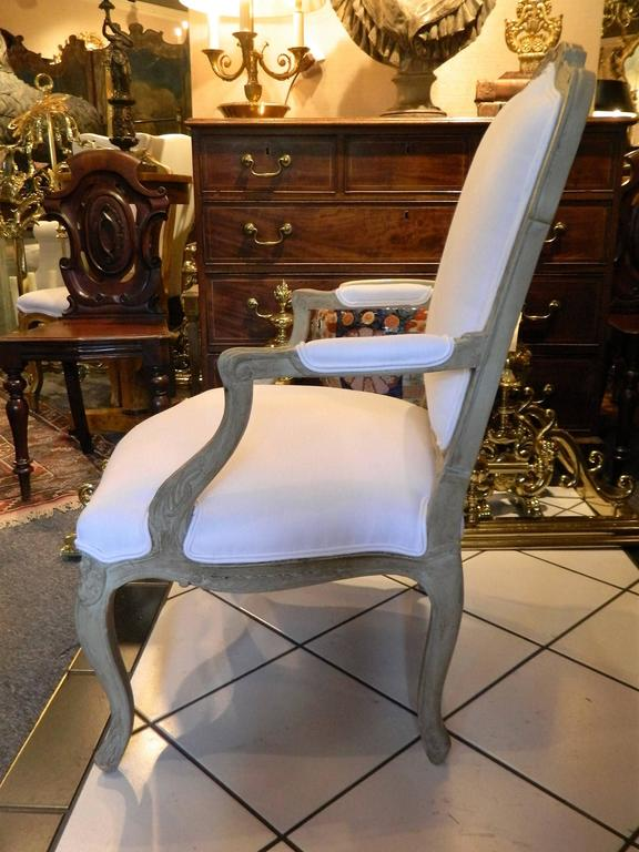 Louis XVI Style Upholstered Open Armchair, Early 20th Century For Sale 3