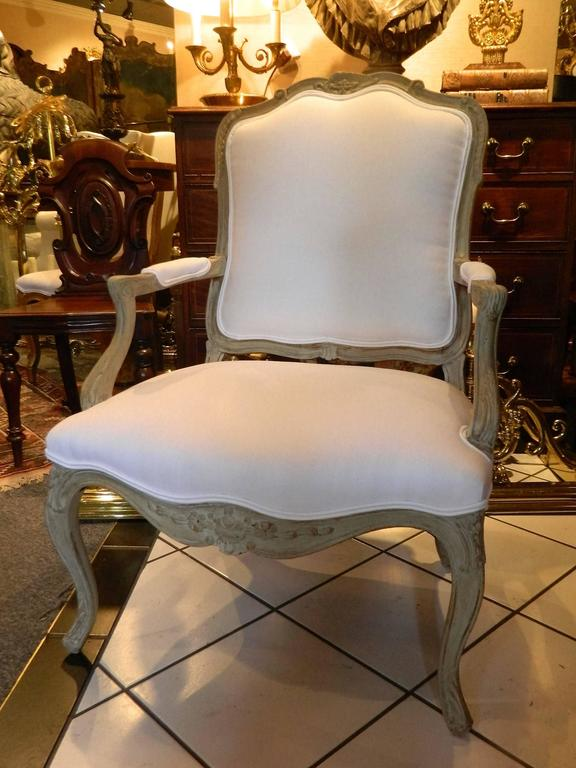 Louis XVI Style Upholstered Open Armchair, Early 20th Century For Sale 4