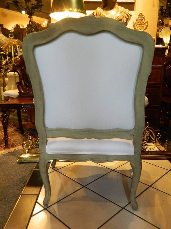 Louis XVI Style Upholstered Open Armchair, Early 20th Century For Sale 5