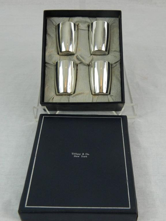 Set of Four Tiffany & Co. Sterling Silver Shot Glasses, Early 20th Century In Excellent Condition For Sale In Savannah, GA