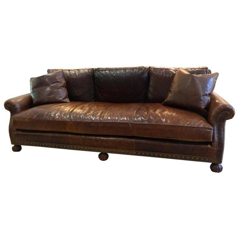 Ralph Lauren Leather Sofa with Nail Head Treatment, 20th Century