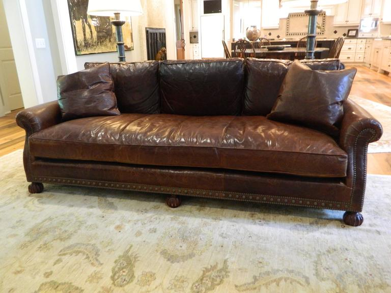American Ralph Lauren Leather Sofa With Nail Head Treatment 20th Century For