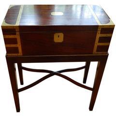 English Mahogany Lap Desk on a Custom-Made Stand, 19th Century