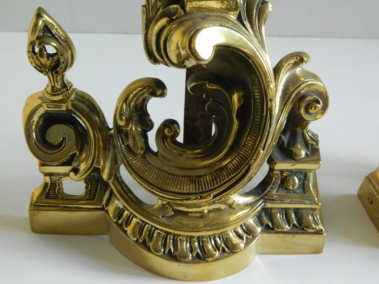 French Pair of Polished Brass Chenets or Andirons, Scroll Motif, 19th Century For Sale