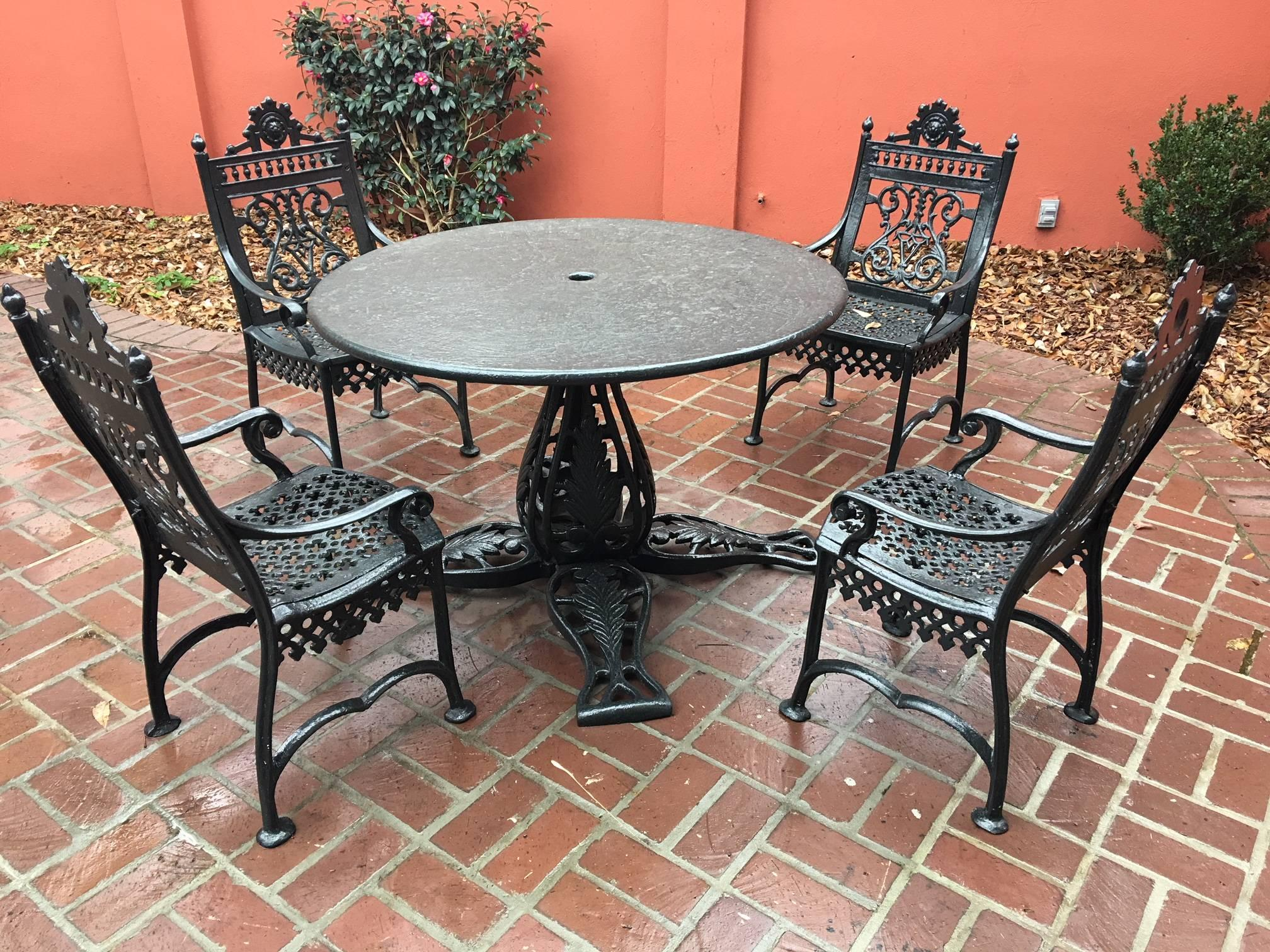 Five Piece Cast Iron Patio Set, Marked In Casting Early Victorian Jacobs  Mfg.