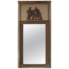 French Louis XVI Style Patinated and Giltwood Trumeau Mirror, 19th Century