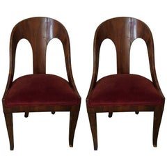 Pair of Neoclassical Style Spoon Back Chairs, circa 1920