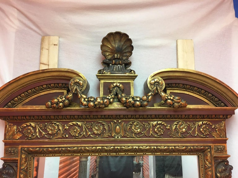 Gold Leaf Wood Carved Mirror with Figures on Each Side and Top Shell, circa 1890 For Sale 4