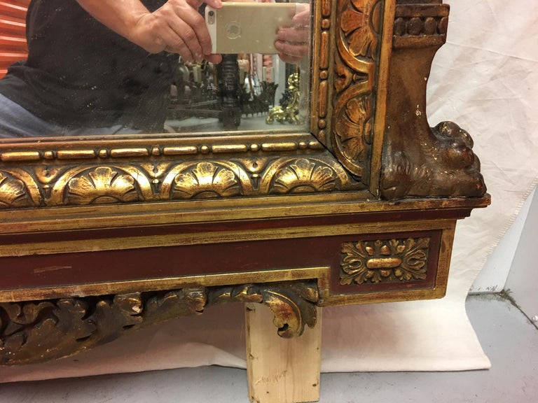 Gold Leaf Wood Carved Mirror with Figures on Each Side and Top Shell, circa 1890 For Sale 3