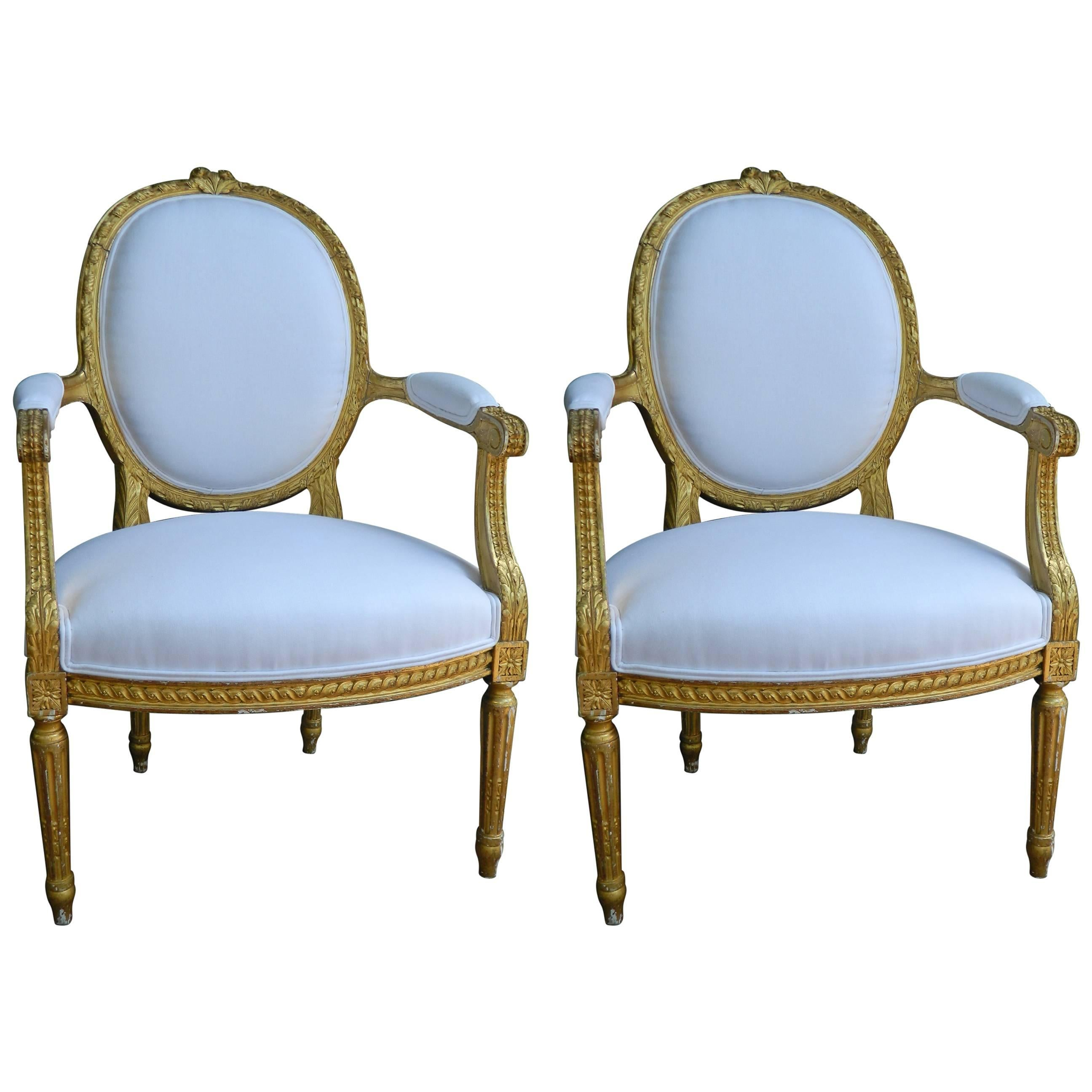 Pair of Louis XVI Style Giltwood Armchairs, 19th Century