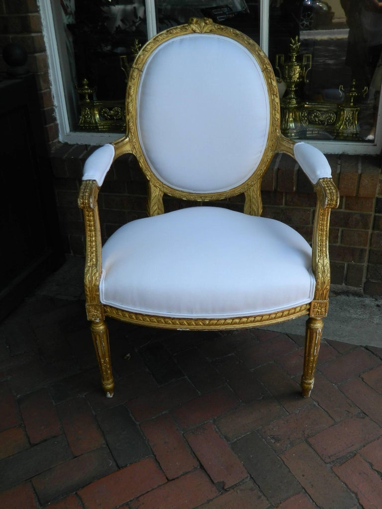 Pair of Louis XVI Style Giltwood Armchairs, 19th Century In Good Condition For Sale In Savannah, GA