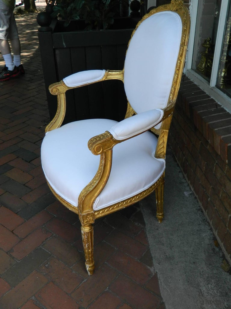 Wood Pair of Louis XVI Style Giltwood Armchairs, 19th Century For Sale