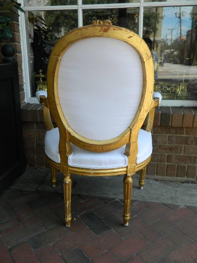 Pair of Louis XVI Style Giltwood Armchairs, 19th Century For Sale 4