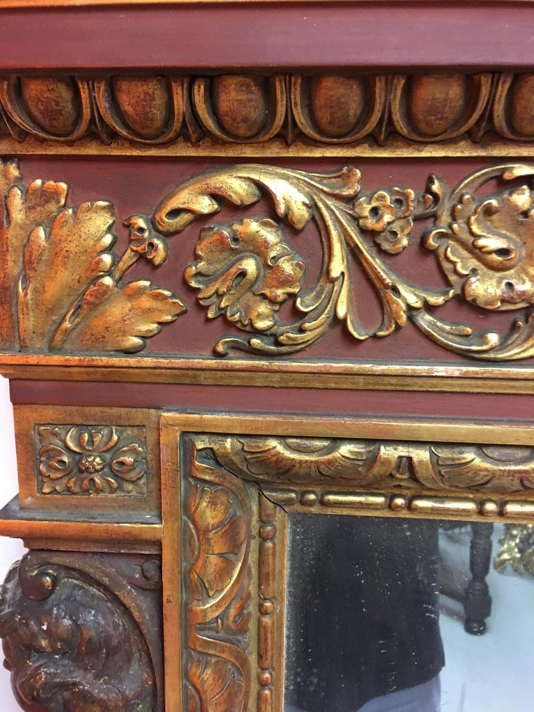 19th Century Gold Leaf Wood Carved Mirror with Figures on Each Side and Top Shell, circa 1890 For Sale