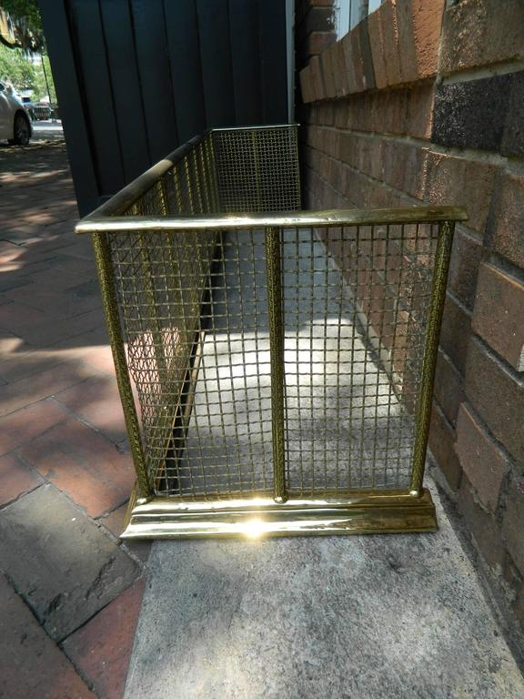 English Polished Brass and Mesh Fireplace Fender, 19th Century In Excellent Condition For Sale In Savannah, GA