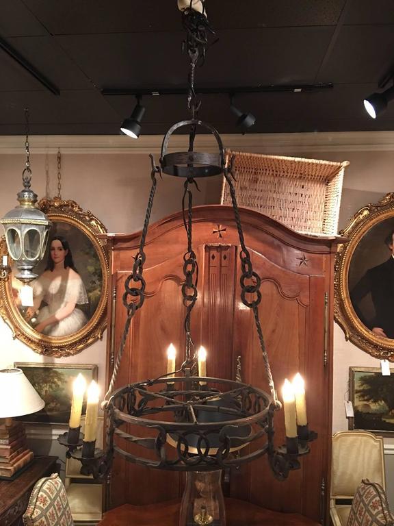 Italianwrought iron six-light chandelier, 19th century.
