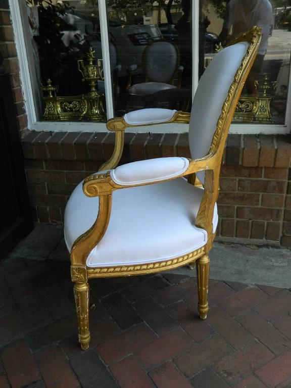 Pair of Louis XVI Style Giltwood Armchairs, 19th Century 6