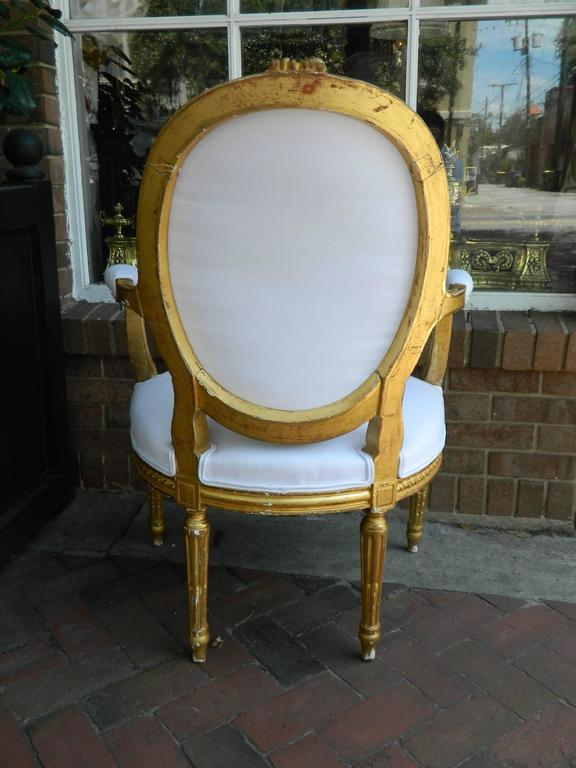 Pair of Louis XVI Style Giltwood Armchairs, 19th Century For Sale 5