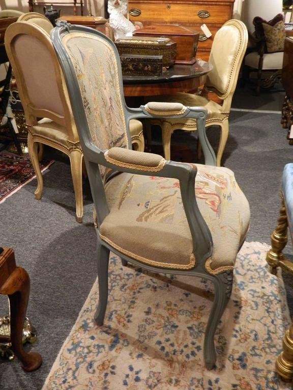 Pair of Louis XVI Style Painted Chairs with Needlepoint Tapestry, 20th Century 3