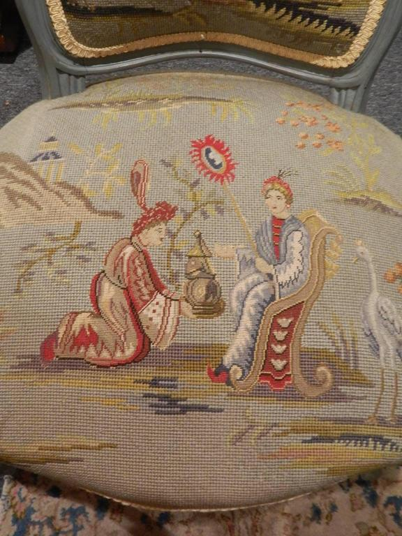 Pair of Louis XVI Style Painted Chairs with Needlepoint Tapestry, 20th Century 4