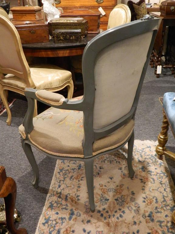 Pair of Louis XVI Style Painted Chairs with Needlepoint Tapestry, 20th Century 5