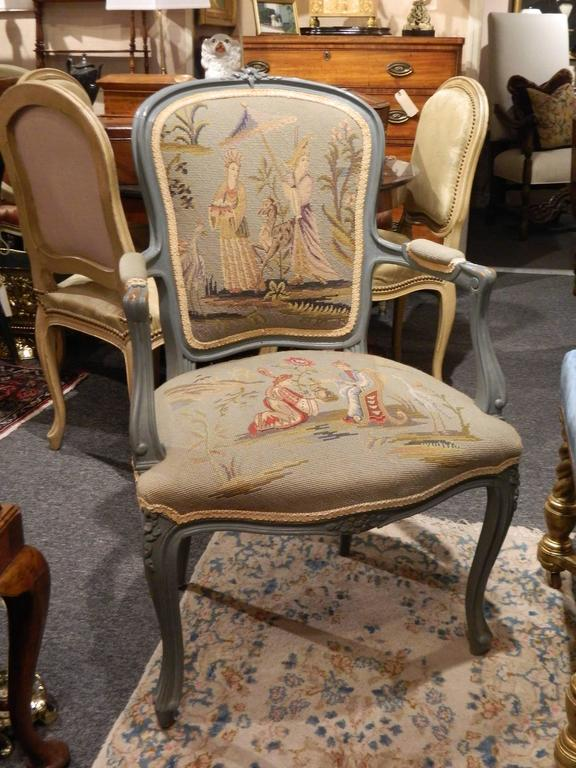 Pair of Louis XVI Style Painted Chairs with Needlepoint Tapestry, 20th Century 6