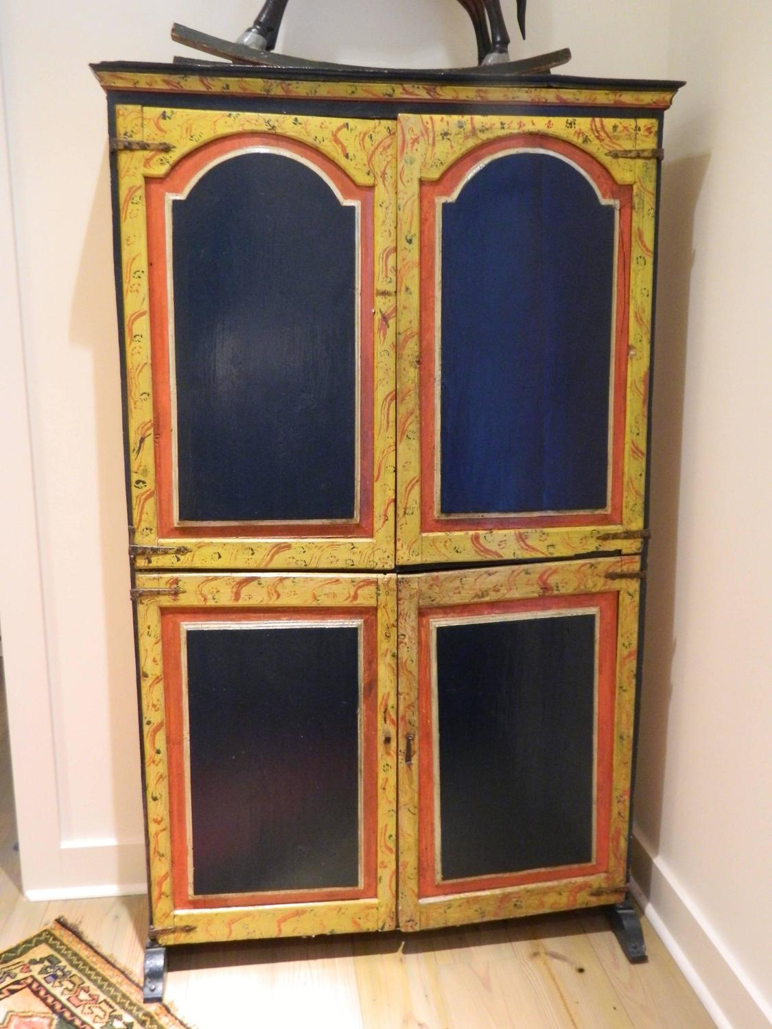 Continental painted cabinet with upper and lower doors for Upper cabinets for sale