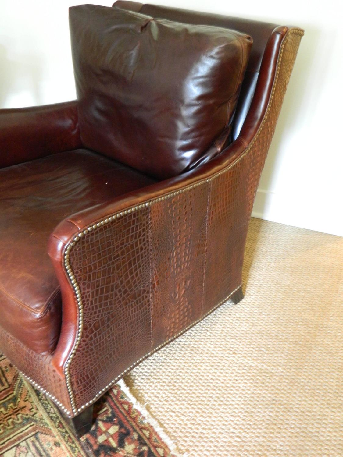 Set Of Three Leather Chairs Including An Ottoman Late 20th Century For Sale At 1stdibs