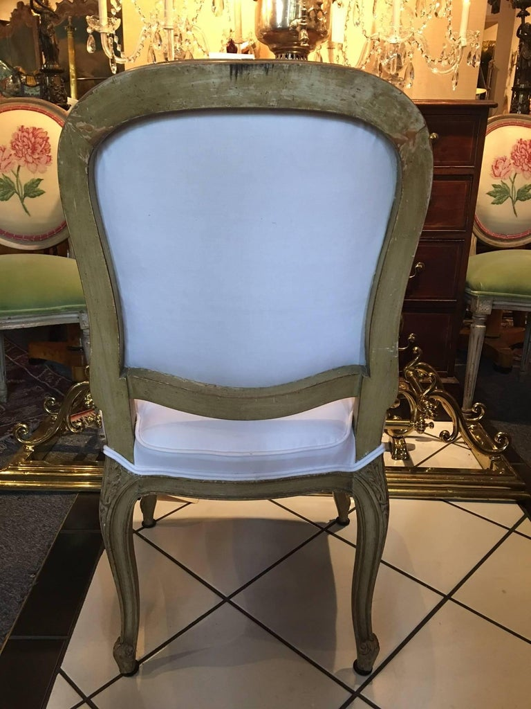 Set of Four Painted Louis XVI Style Dining Chairs, Mid-20th Century In Good Condition For Sale In Savannah, GA