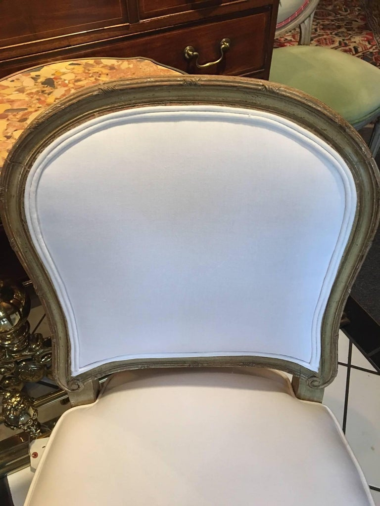 Wood Set of Four Painted Louis XVI Style Dining Chairs, Mid-20th Century For Sale
