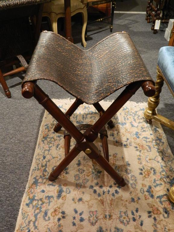 Set Of Four Folding Stools With Leather Seats By Stiles