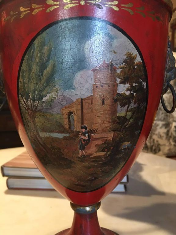 Pair of regency painted lead covered urns 19th century for Painting over lead paint on furniture