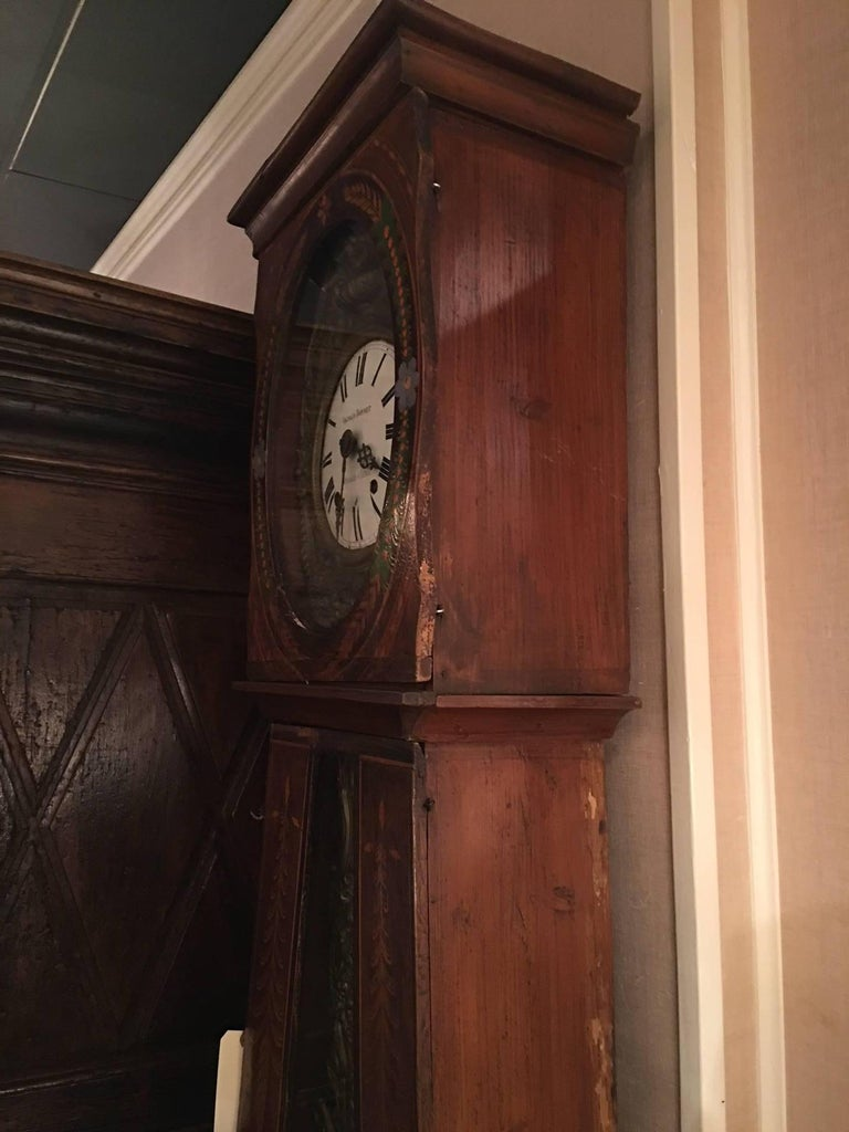 French Provincial Morbier Tall Case Clock, Vignaud Bonnet, 19th Century For Sale 4