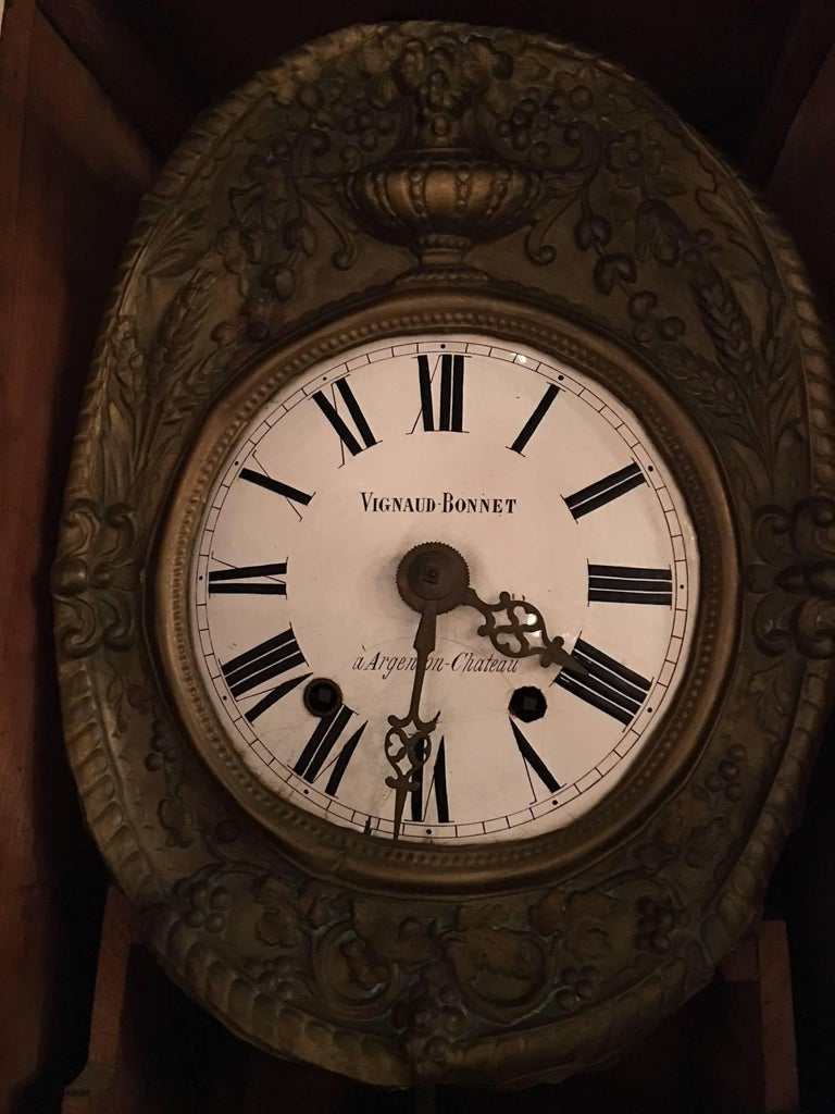 French Provincial Morbier Tall Case Clock, Vignaud Bonnet, 19th Century For Sale 6