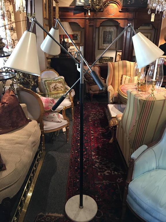 Italian Triennale Three-Arm Adjustable Floor Lamp, circa 1950s In Excellent Condition For Sale In Savannah, GA