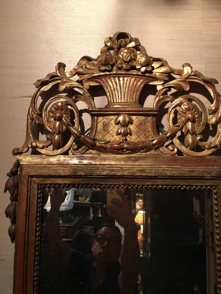 Italian Louis XVI Style Giltwood Mirror with Bell Flower Swags, 19th Century For Sale 3