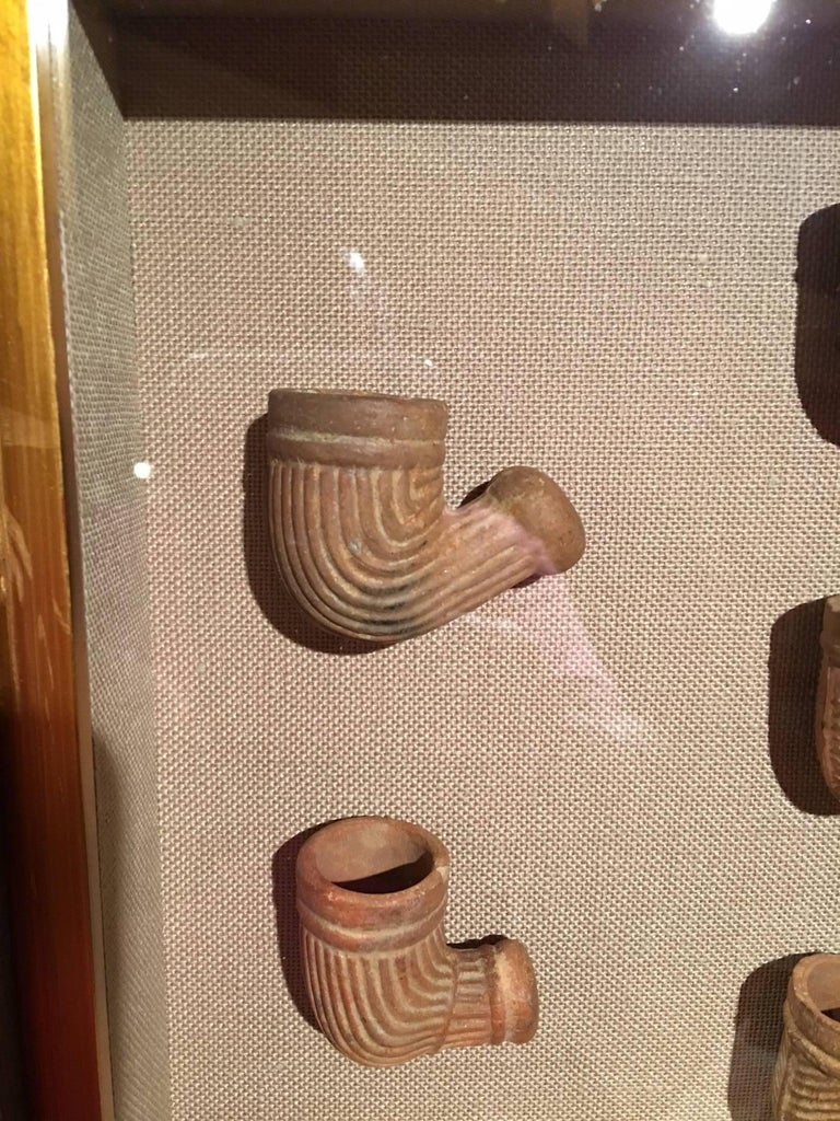 Set Of Five Terracotta Pipes Framed In A Shadow Box 19th
