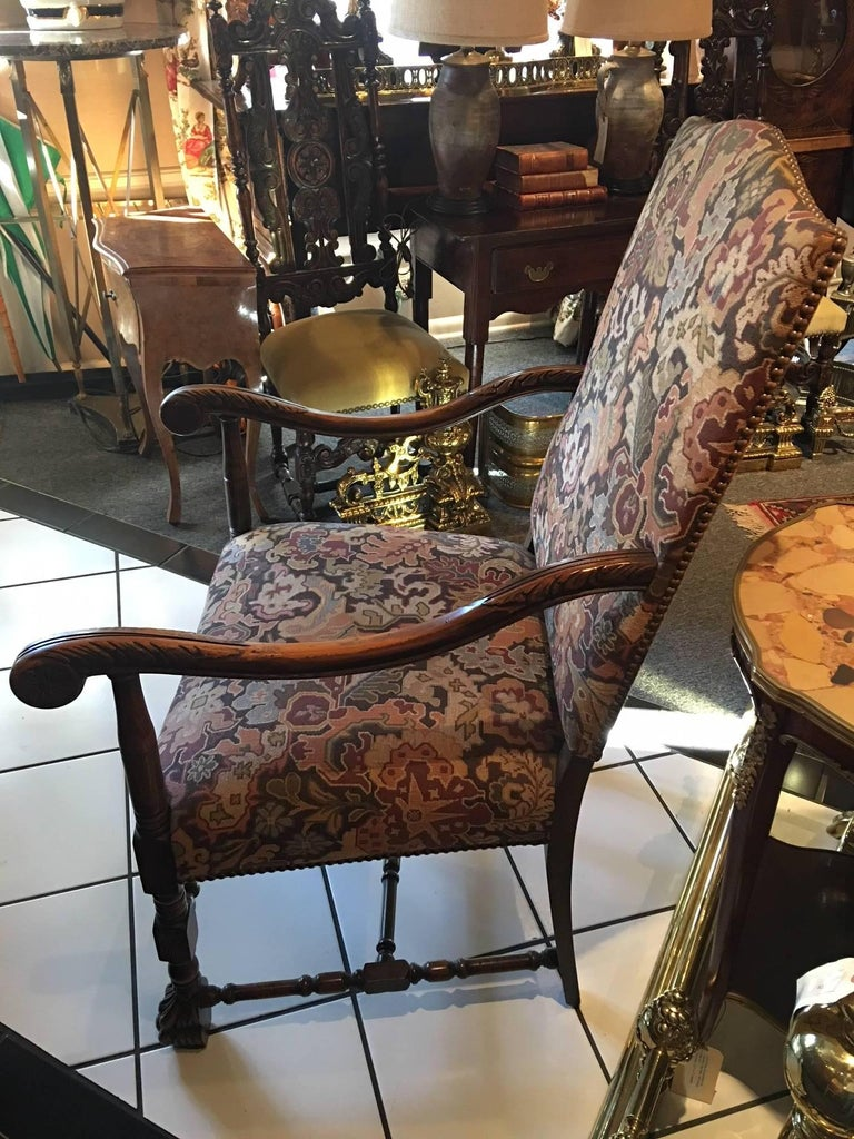 Pair of Carved Flemish Armchairs, 19th Century In Good Condition For Sale In Savannah, GA