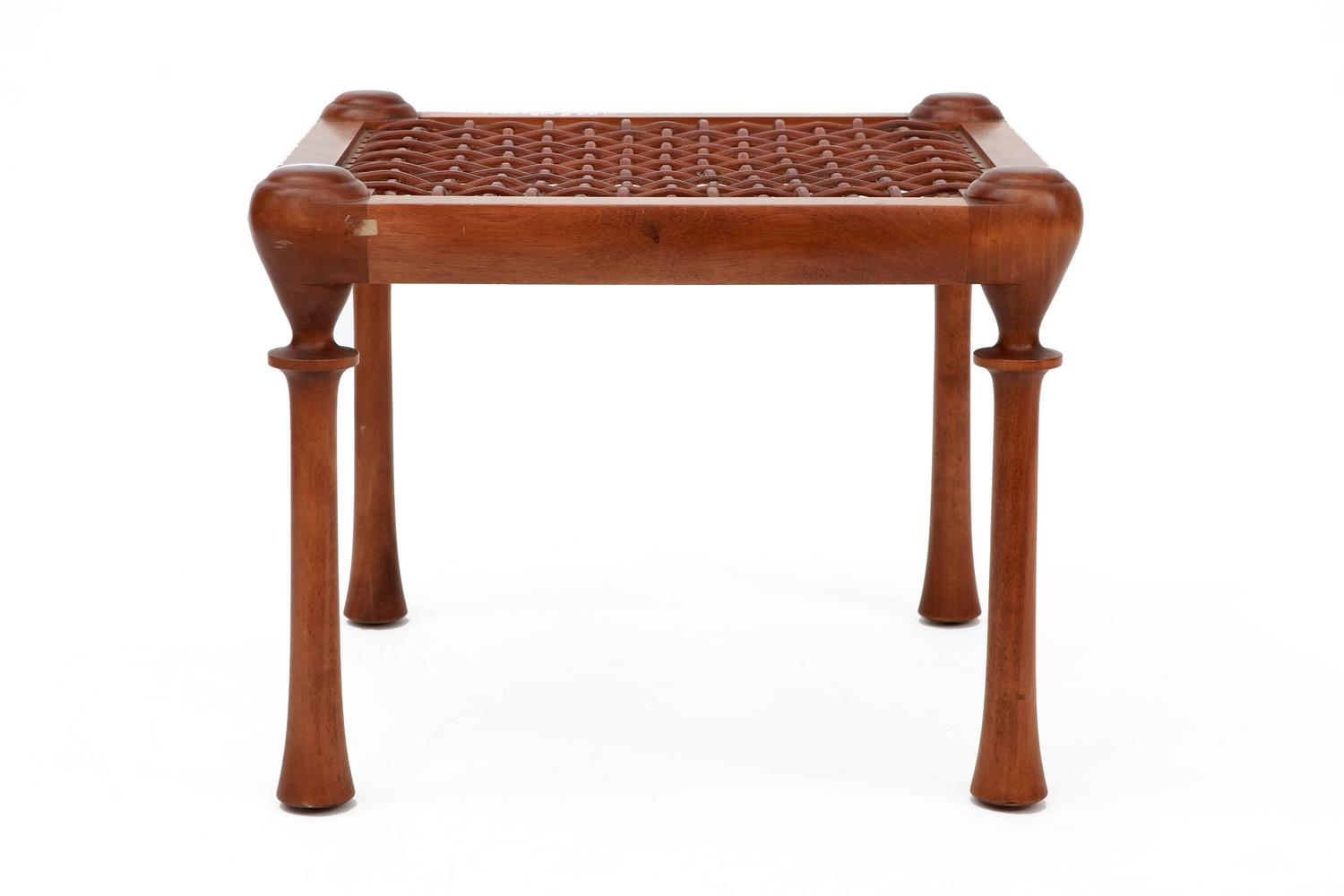 4 Legged Stool ~ Four legged walnut stool with interlaced leather straps