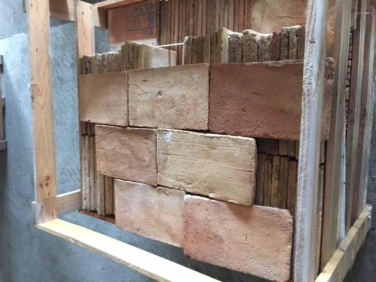 Original French antique parefeuilles (rectangular) terra cotta flooring, 19th century. Each tile hand-selected and cleaned, ready for installation right away.  We have a very large quantity available right now, ready for international and US