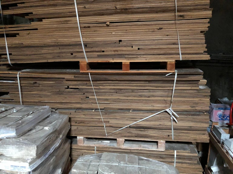 French Antique Solid Wood Oak Flooring, 17th-18th Century, France For Sale 2