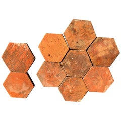 French Antique Terracotta Flooring Hexagonal, 18th Century, France